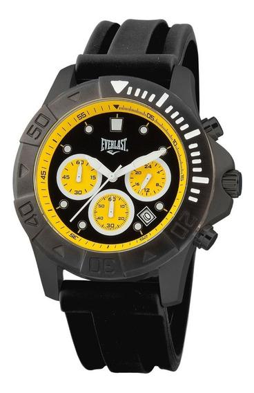 Relógio Pulso Everlast Masculino Aço Silicone Preto E465