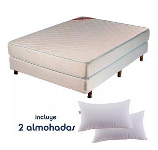 Sommier Colchon Piero Foam 190x140 Espuma 25kg + Almohadas
