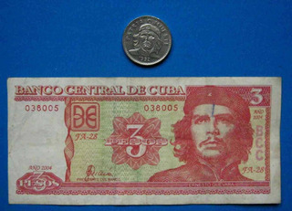Tp Lote Una Moneda Y Un Billete Con Imagen Del Che Guevara.-