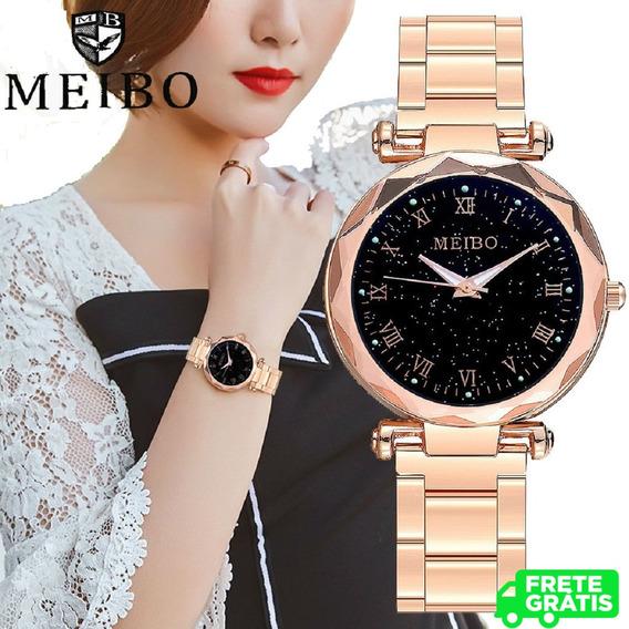 Relógios De Pulso Feminino Luxo Céu Estrelado Resistente A Água 30m + Brinde! + Frete Grátis! 2 Por 1