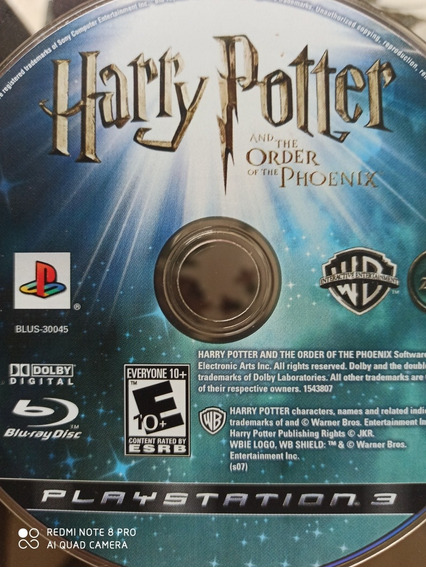 Harry Potter And The Order Of The Phoenix Ps3 Mídia Física