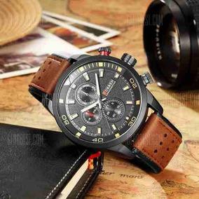 Relógio Analógico De Ponteiros Marrom Com Preto Curren 8250