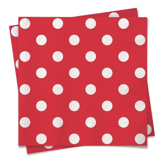20 Guardanapos Bolinhas Vermelho/branco 25x25cm Dec. Festas
