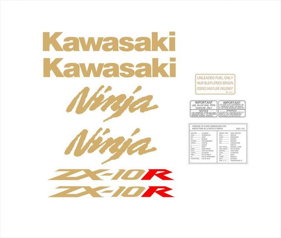 Kit Adesivos Moto Kawasaki Ninja Zx-10r 2010 Preta Ccr15982