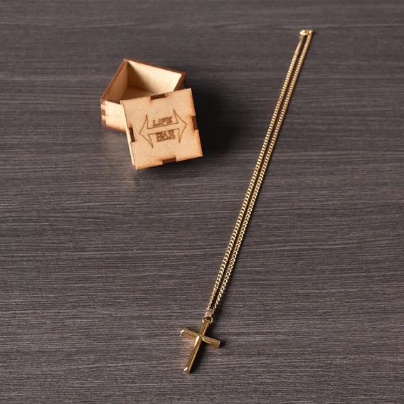 Corrente Masculina Banho Em Ouro Cordão 60cm + Ping