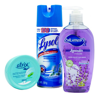 Jabón Blumen525ml Lysol Spray Antibacterial 354g Crema Manos