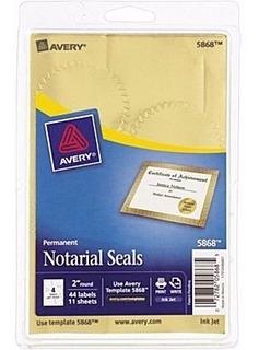Etiqueta Dorada Avery 5868 Sello Notariado Diplomas