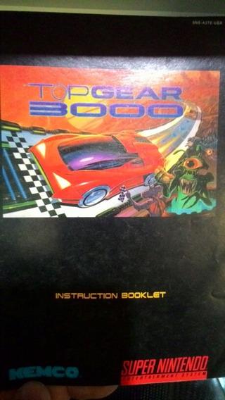 Instruction Booklet Top Gear 3000 Super Nintendo Original