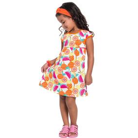 Vestido Infantil Menina Estampada Rosa Boca Grande
