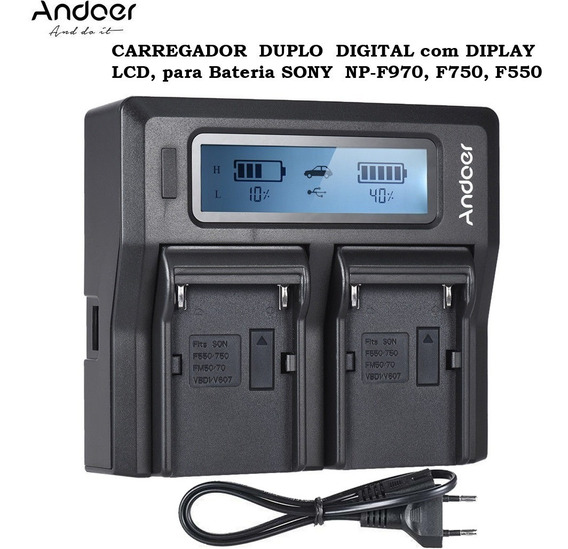 Carregador Duplo Lcd Para Bateria Sony Np-f970, F750, F550