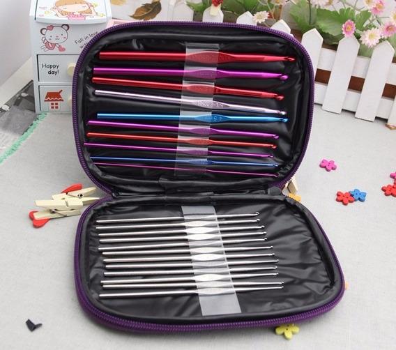 Set 22 Agujas Crochet Aluminio Estuche +accesorios Amigurumi