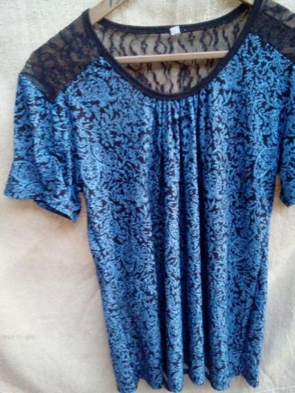 Gp1160 Remera Dama Azul Y Negro