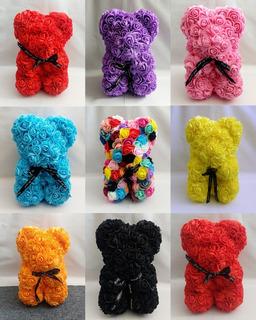Oso De Flores Artificiales De Colores Con Caja Regalo Amor