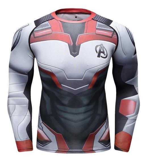 Camisa Compresion Marvel Avengers Endgame Quantum Uniform Playera Hombre Manga Larga Licra Crossfit Gym Rashguard