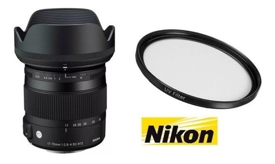 Lente Sigma 17-70mm F/2.8-4dc Macro Hsm Nikon+filtro Uv 72mm