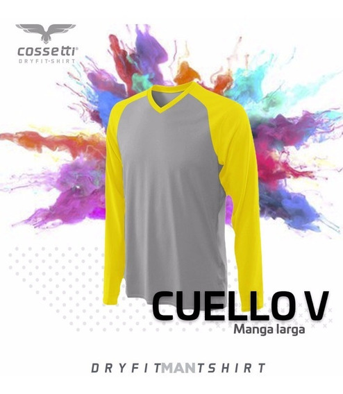 Playera Cuello V Cossetti Manga Larga Dry Fit Ranglan Xl 2xl