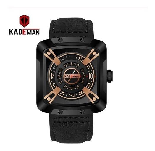 Relógio Kademan Pulseira Preta Em Couro