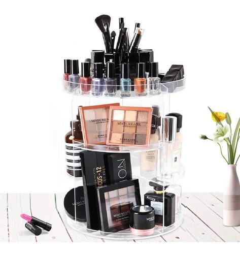 Imagem 1 de 10 de Organizador Acrilico Maquiagem Display Giratório 360 Redondo