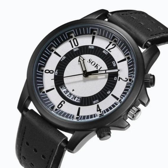 Relógio Masculino De Couro Barato E Bom Quartzo Promoção Top