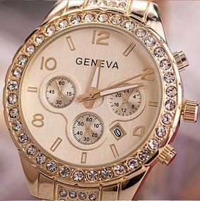 Relógio Feminino Geneva C/ Acabamento Em Pedras