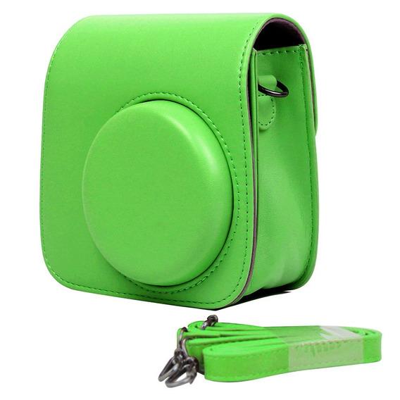 Bolsa Couro Sintético Alça - Câmera Instax Mini 7 8 9 Verde