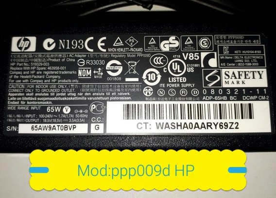 Fonte Carregador Hp Mod:ppp09d Notebook 18:5v 3.5a Original