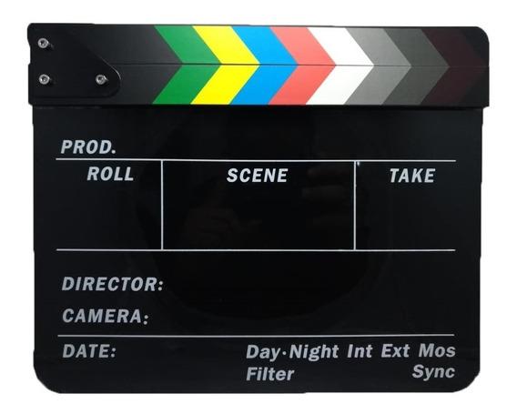 Claquete Preta Haste Colorida Para Filmagens Vídeos Cenas