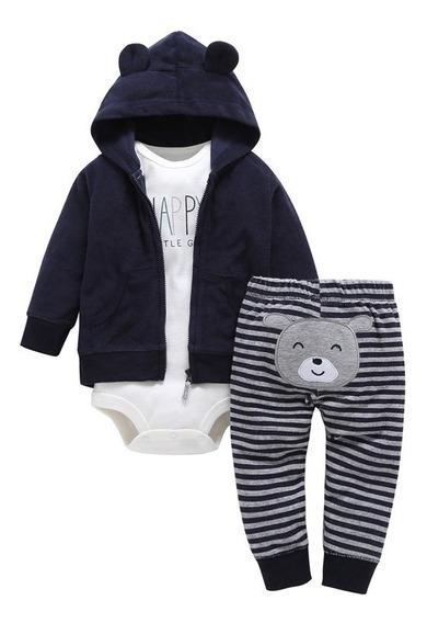 Conjunto Infantil 3 Peças Jaqueta Body Calça Menino 24 Meses
