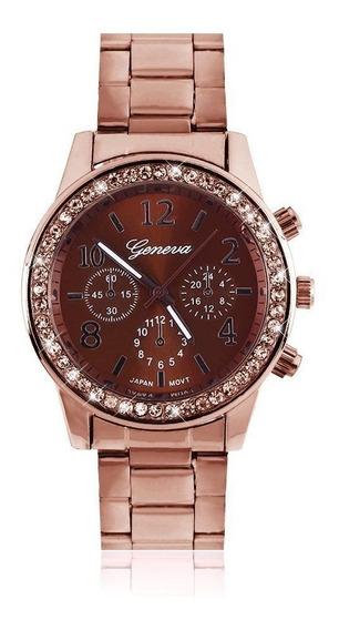 Relógio Feminino Rosê De Aço Geneva