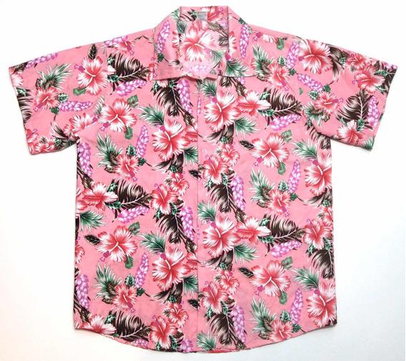 Camisa Hawaiana Tropical Floreada Surf Rosa Xl G 984
