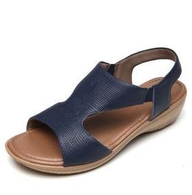 Sandália Couro Usaflex Conforto Anabela Azul-marinho