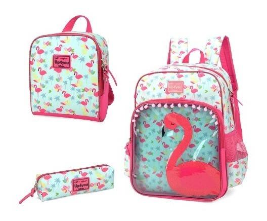 Kit Escolar Mochila + Lancheira + Estojo Flamingo Up4you