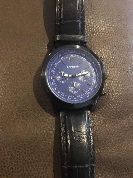 Reloj Express Negro, Azul, Acero Inoxidable, Cuero