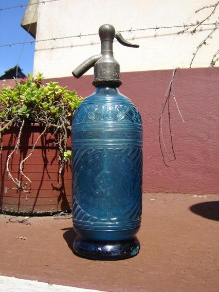 Antiguo Raro Sifon La Africana , Azul Original Soda Soderia