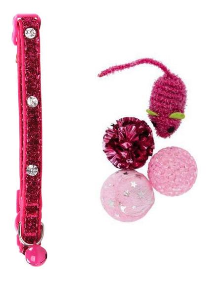 Kit Coleira Para Gato Rosa Diamante E 4 Brinquedinhos Pawise