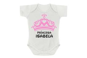 Body Bebê Menina Princesa Isabela Rosa Personalizado