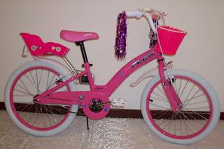 Bicicleta Rodado 20 Para Nena Con Canasto Y Silla Muñeca