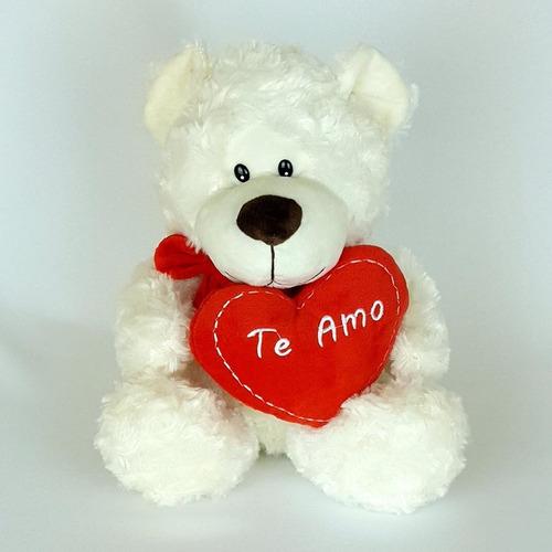 Imagem 1 de 3 de Urso Ursinho De Pelúcia 25cm Coração Te Amo Creme