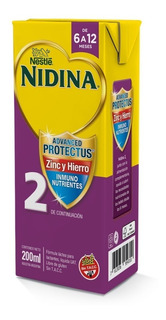 Nidina 2 Leche Infantil Zinc Y Hierro (6 A 12 Meses) 200ml