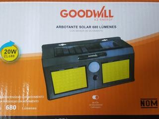 Luminaria Solar Arbotante 20 Wts Con Sensor De Movimiento