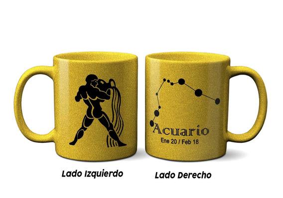 Taza Dorada Personalizada Signos Del Zodiaco
