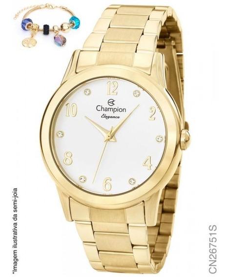 Relógio Champion Analógico Cn26751s Feminino + Semijoia