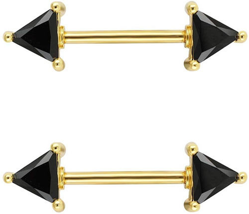 Imagen 1 de 2 de Excepro - Piercing De Pezón Quirúrgico 316l Ss Negro Cz Cz P