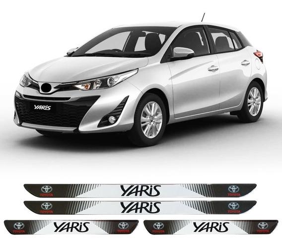 Jogo Soleira Resinada Personalizada Yaris Hatch Sedan - 4pçs