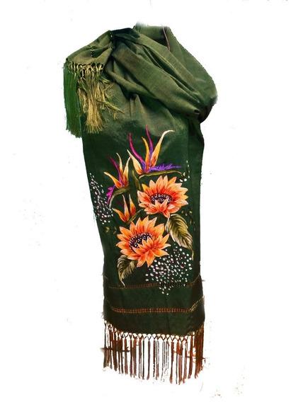Rebozo Artesanal De Articela Pintado A Mano Moda Mexicana