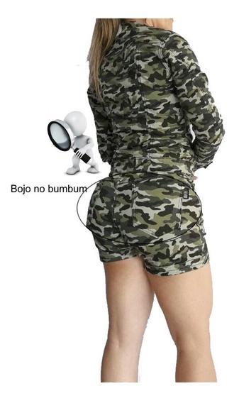 Short E Jaqueta Camuflado Com Bojo Levanta Bumbum