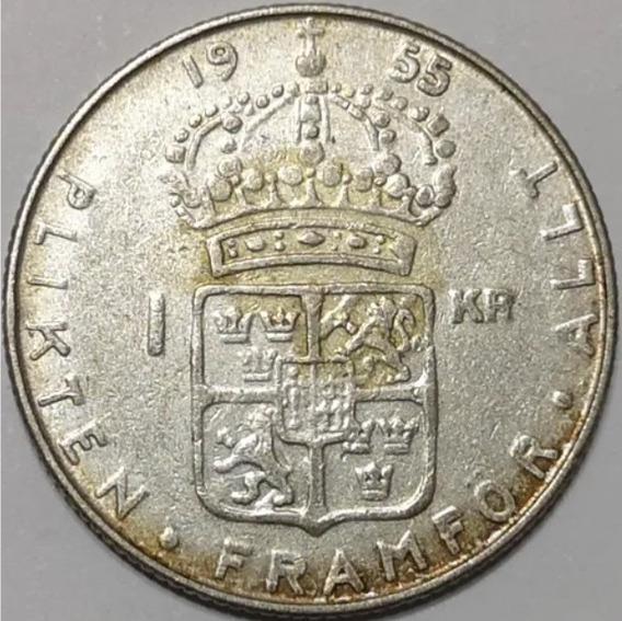 Suecia 1955 1 Krona Moneda De Plata Gustaf Vi Adolf L11619