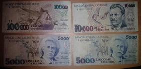 Cédulas 5 Mil 10 Mil 100 Mil Cruzeiros 4 Notas Bc