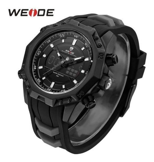 Relógio Masculino Esportivo Original Weide Preto Com Led Top