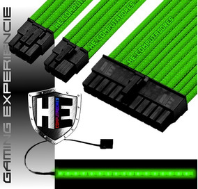 Kit Cabo Sleeve Extensor Gamer 24 Pinos 3x8p Fita Led Prox